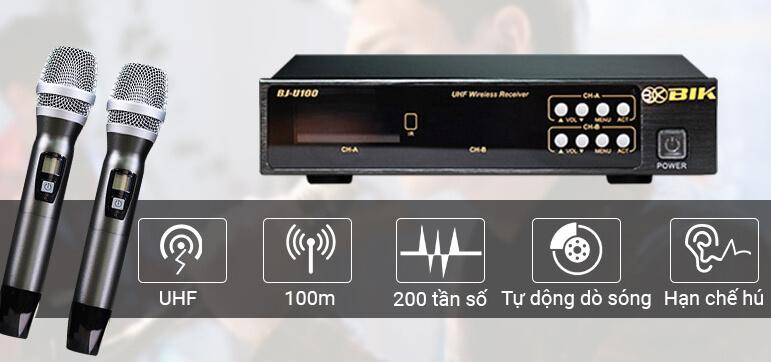 Bộ Micro không dây chống hú cho dàn Karaoke gia đình BIK BJ-U100