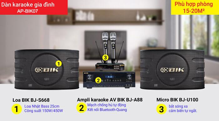 Dàn Karaoke gia đình AP-BIK07 của Nhật Bản gồm các thiết bị loa karaoke, ampli, micro chống hú
